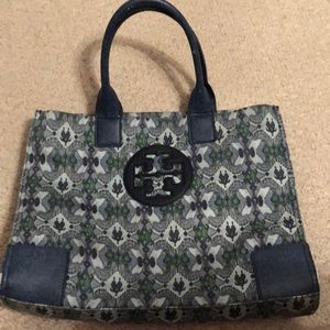 Tory Burch blue and green large tote.